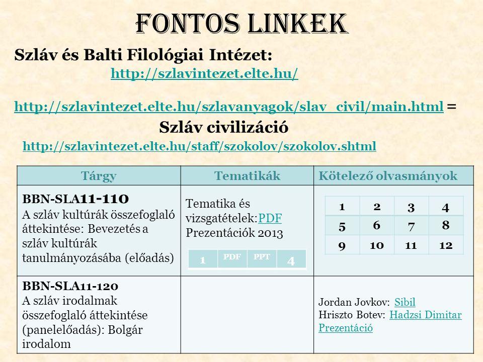 Fontos linkek Szláv és Balti Filológiai Intézet: http://szlavintezet.elte.hu/ http://szlavintezet.elte.hu/szlavanyagok/slav_civil/main.html = http://s