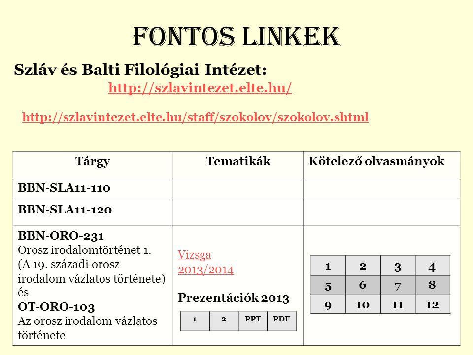 Fontos linkek Szláv és Balti Filológiai Intézet: http://szlavintezet.elte.hu/ http://szlavintezet.elte.hu/staff/szokolov/szokolov.shtml http://szlavin