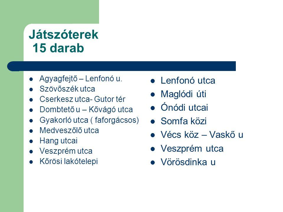 Játszóterek 15 darab Agyagfejtő – Lenfonó u.