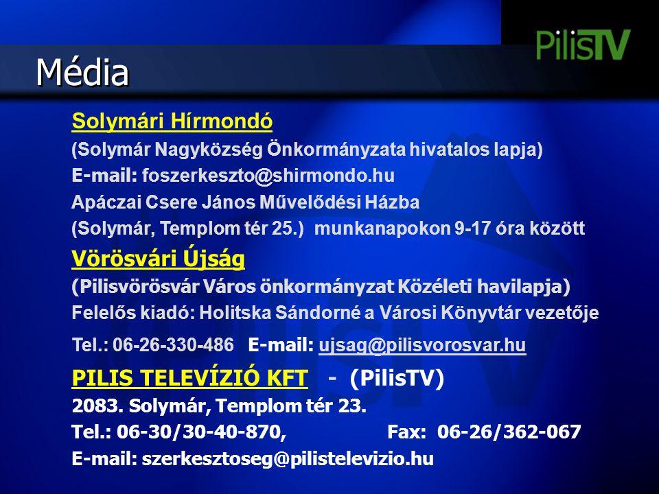 Média Solymári Hírmondó (Solymár Nagyközség Önkormányzata hivatalos lapja) E-mail: foszerkeszto@shirmondo.hu Apáczai Csere János Művelődési Házba (Sol