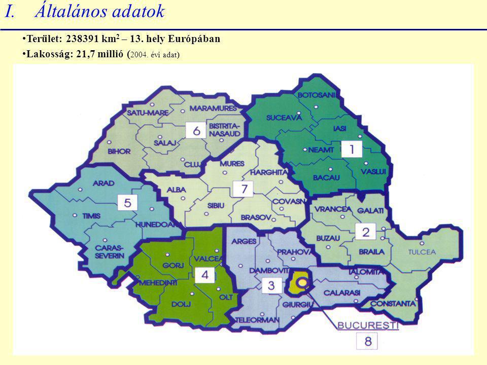 I. Általános adatok Terület: 238391 km 2 – 13. hely Európában Lakosság: 21,7 millió ( 2004.