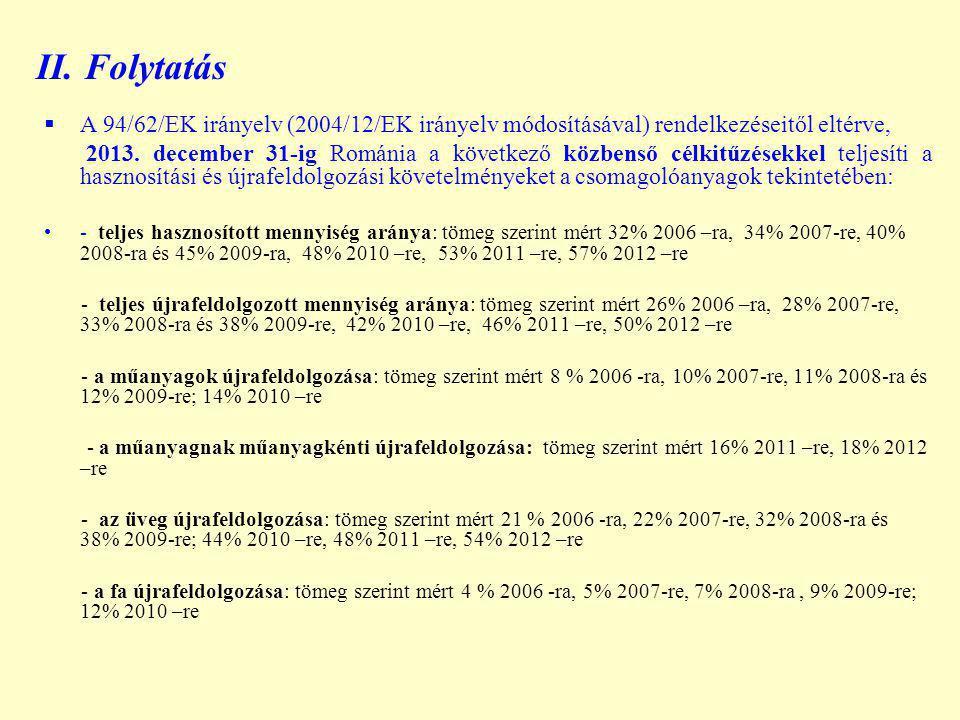 II. Folytatás  A 94/62/EK irányelv (2004/12/EK irányelv módosításával) rendelkezéseitől eltérve, 2013. december 31-ig Románia a következő közbenső cé
