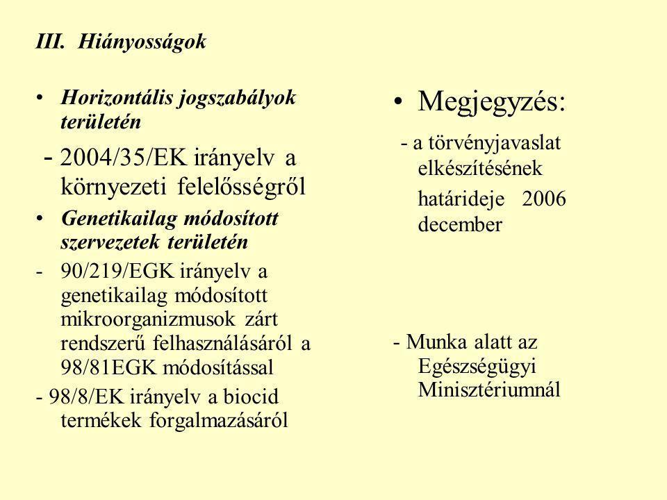 III. Hiányosságok Horizontális jogszabályok területén - 2004/35/EK irányelv a környezeti felelősségről Genetikailag módosított szervezetek területén -
