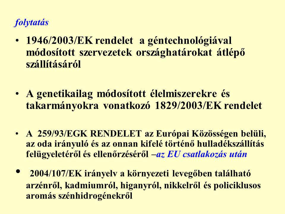 folytatás 1946/2003/EK rendelet a géntechnológiával módosított szervezetek országhatárokat átlépő szállításáról A genetikailag módosított élelmiszerekre és takarmányokra vonatkozó 1829/2003/EK rendelet A 259/93/EGK RENDELET az Európai Közösségen belüli, az oda irányuló és az onnan kifelé történő hulladékszállítás felügyeletéről és ellenőrzéséről –az EU csatlakozás után 2004/107/EK irányelv a környezeti levegőben található arzénről, kadmiumról, higanyról, nikkelről és policiklusos aromás szénhidrogénekről