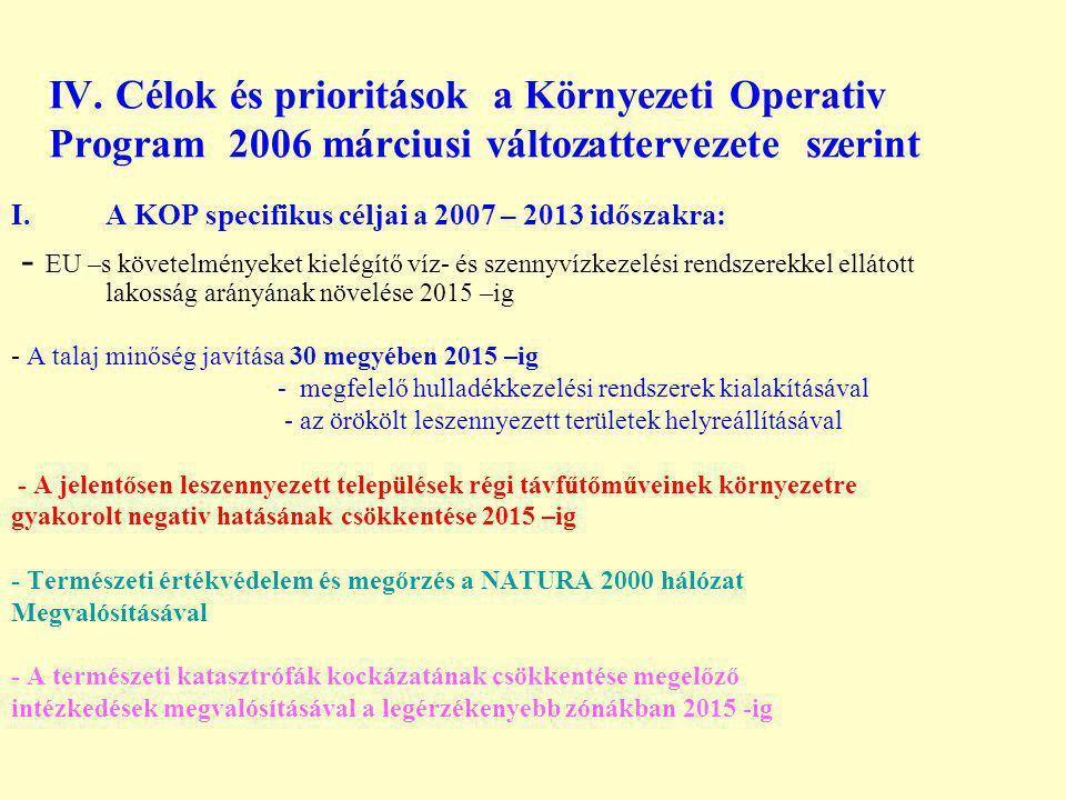 IV. Célok és prioritások a Környezeti Operativ Program 2006 márciusi változattervezete szerint I.A KOP specifikus céljai a 2007 – 2013 időszakra: - EU