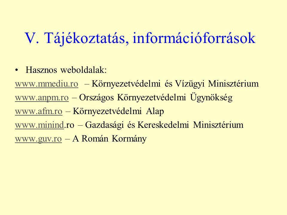 V. Tájékoztatás, információforrások Hasznos weboldalak: www.mmediu.rowww.mmediu.ro – Környezetvédelmi és Vízügyi Minisztérium www.anpm.rowww.anpm.ro –