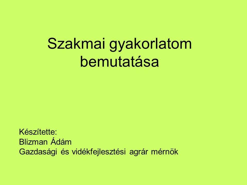 Gyakorlatomat a Szabolcs-Szatmár-Bereg Megyei Agrárkamara Fehérgyarmati kirendeltségénél töltöttem Gyakorlat ideje: 12 hét