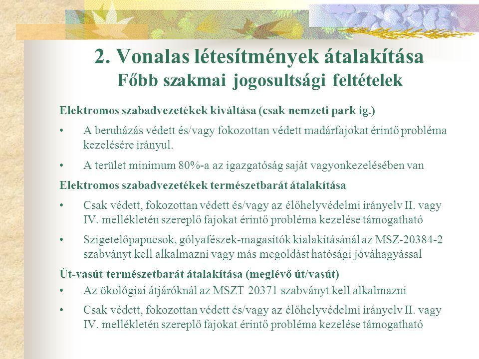 2. Vonalas létesítmények átalakítása Főbb szakmai jogosultsági feltételek Elektromos szabadvezetékek kiváltása (csak nemzeti park ig.) A beruházás véd