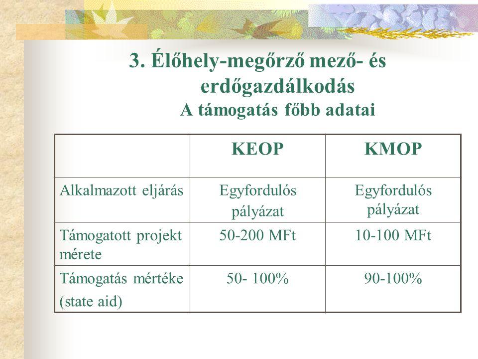 3. Élőhely-megőrző mező- és erdőgazdálkodás A támogatás főbb adatai KEOPKMOP Alkalmazott eljárásEgyfordulós pályázat Egyfordulós pályázat Támogatott p
