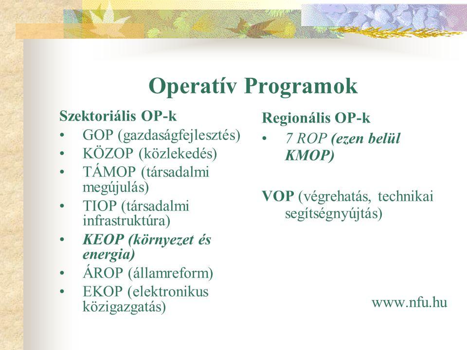 Operatív Programok Szektoriális OP-k GOP (gazdaságfejlesztés) KÖZOP (közlekedés) TÁMOP (társadalmi megújulás) TIOP (társadalmi infrastruktúra) KEOP (környezet és energia) ÁROP (államreform) EKOP (elektronikus közigazgatás) Regionális OP-k 7 ROP (ezen belül KMOP) VOP (végrehatás, technikai segítségnyújtás) www.nfu.hu