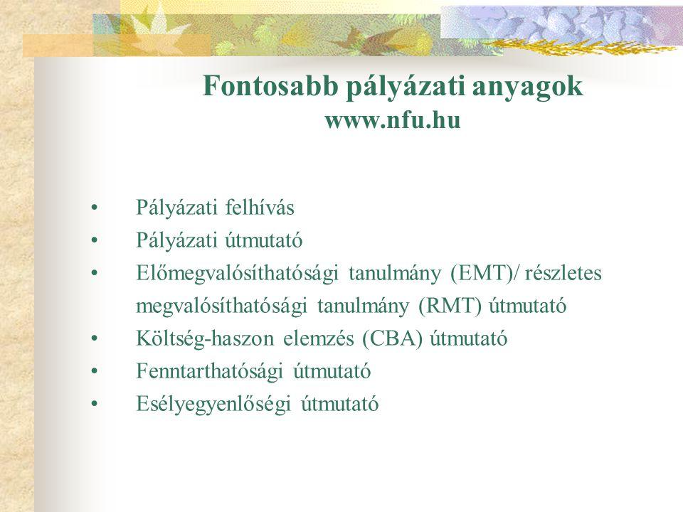 Fontosabb pályázati anyagok www.nfu.hu Pályázati felhívás Pályázati útmutató Előmegvalósíthatósági tanulmány (EMT)/ részletes megvalósíthatósági tanul