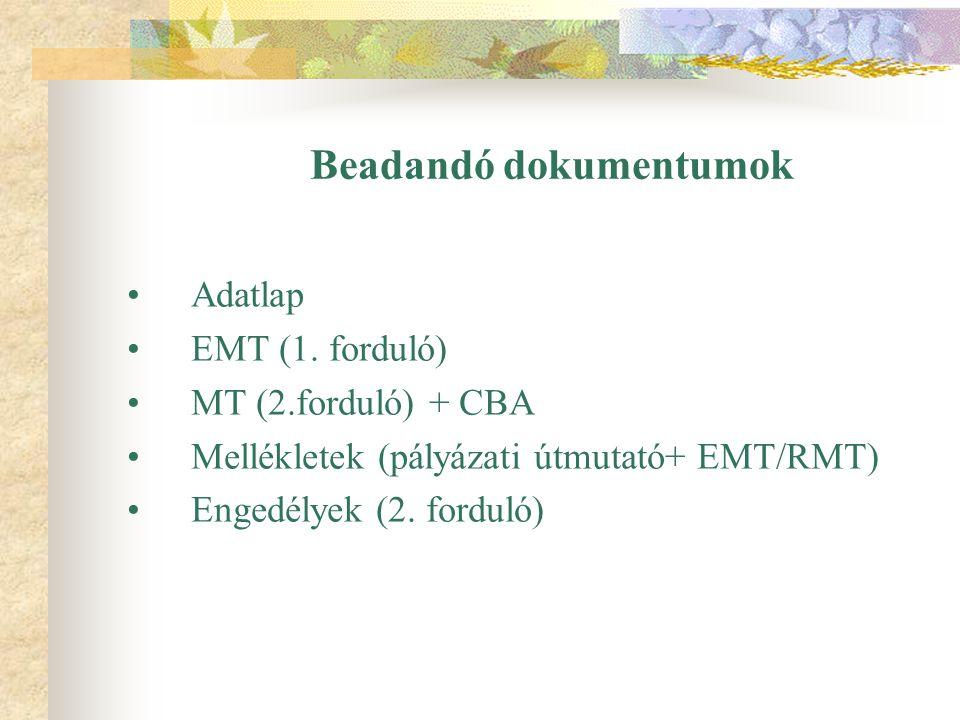 Beadandó dokumentumok Adatlap EMT (1. forduló) MT (2.forduló) + CBA Mellékletek (pályázati útmutató+ EMT/RMT) Engedélyek (2. forduló)