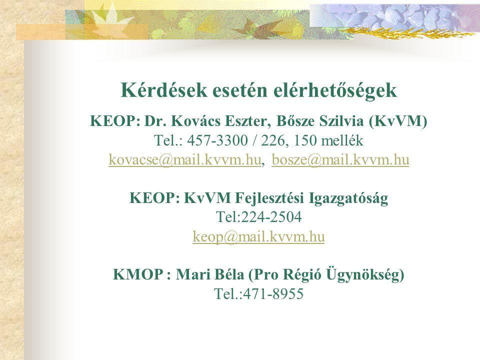 Kérdések esetén elérhetőségek KEOP: Dr. Kovács Eszter, Bősze Szilvia (KvVM) Tel.: 457-3300 / 226, 150 mellék kovacse@mail.kvvm.hukovacse@mail.kvvm.hu,