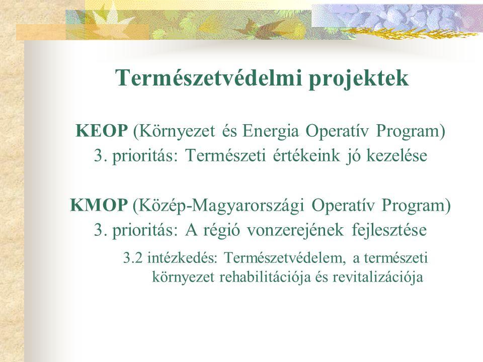 Természetvédelmi projektek KEOP (Környezet és Energia Operatív Program) 3. prioritás: Természeti értékeink jó kezelése KMOP (Közép-Magyarországi Opera