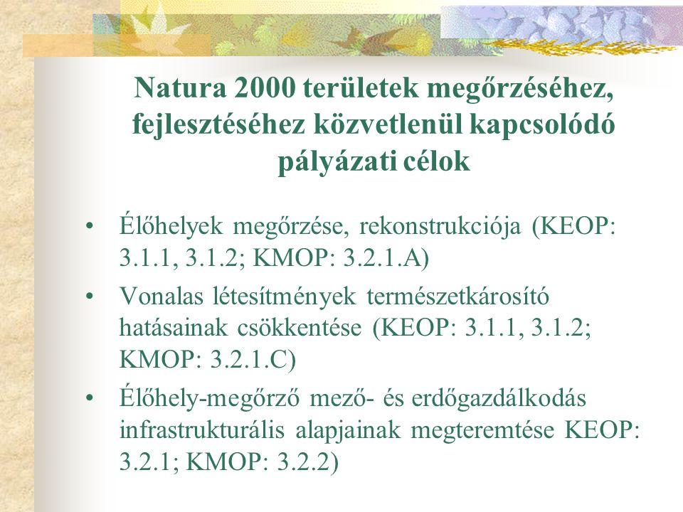 Natura 2000 területek megőrzéséhez, fejlesztéséhez közvetlenül kapcsolódó pályázati célok Élőhelyek megőrzése, rekonstrukciója (KEOP: 3.1.1, 3.1.2; KMOP: 3.2.1.A) Vonalas létesítmények természetkárosító hatásainak csökkentése (KEOP: 3.1.1, 3.1.2; KMOP: 3.2.1.C) Élőhely-megőrző mező- és erdőgazdálkodás infrastrukturális alapjainak megteremtése KEOP: 3.2.1; KMOP: 3.2.2)