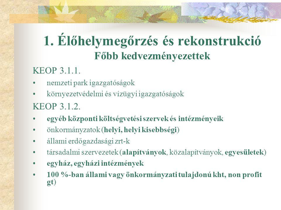 1. Élőhelymegőrzés és rekonstrukció Főbb kedvezményezettek KEOP 3.1.1.