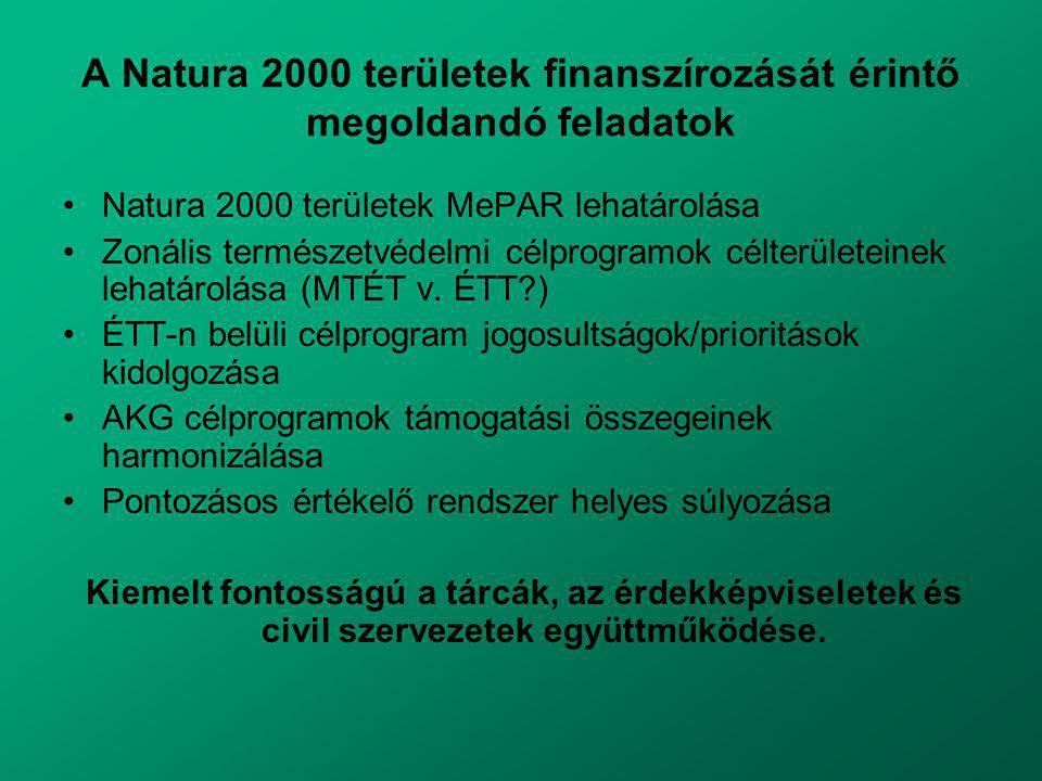 A Natura 2000 területek finanszírozását érintő megoldandó feladatok Natura 2000 területek MePAR lehatárolása Zonális természetvédelmi célprogramok célterületeinek lehatárolása (MTÉT v.