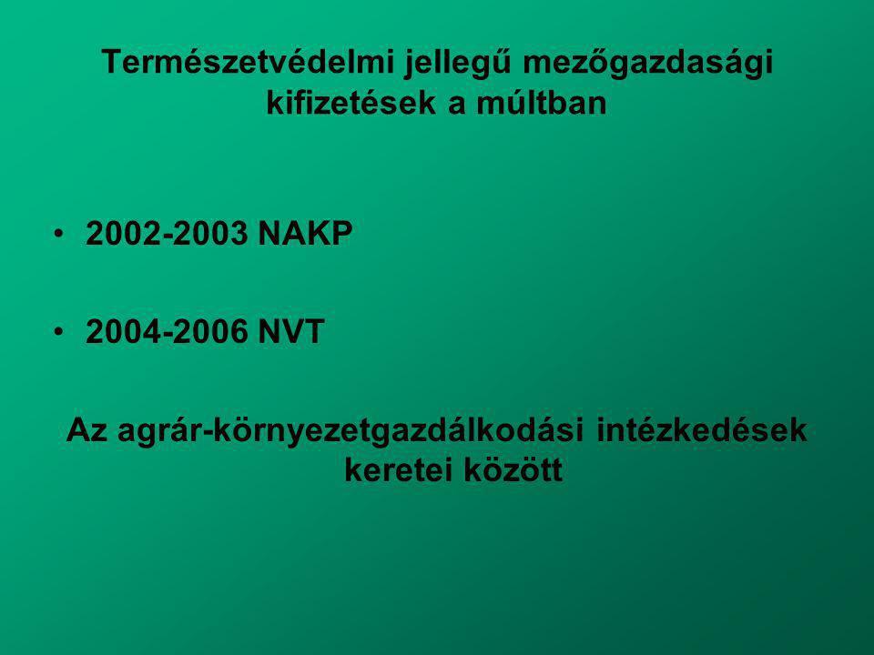 Természetvédelmi jellegű mezőgazdasági kifizetések a múltban 2002-2003 NAKP 2004-2006 NVT Az agrár-környezetgazdálkodási intézkedések keretei között
