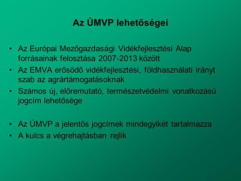 Az ÚMVP lehetőségei Az Európai Mezőgazdasági Vidékfejlesztési Alap forrásainak felosztása 2007-2013 között Az EMVA erősödő vidékfejlesztési, földhasználati irányt szab az agrártámogatásoknak Számos új, előremutató, természetvédelmi vonatkozású jogcím lehetősége Az ÚMVP a jelentős jogcímek mindegyikét tartalmazza A kulcs a végrehajtásban rejlik