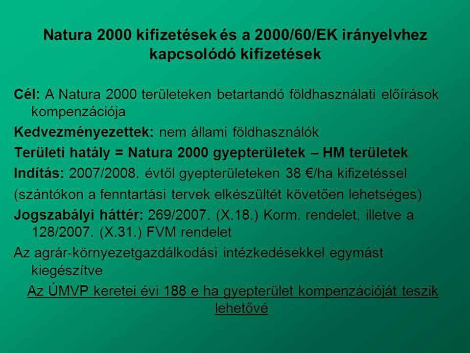 Natura 2000 kifizetések és a 2000/60/EK irányelvhez kapcsolódó kifizetések Cél: A Natura 2000 területeken betartandó földhasználati előírások kompenzációja Kedvezményezettek: nem állami földhasználók Területi hatály = Natura 2000 gyepterületek – HM területek Indítás: 2007/2008.