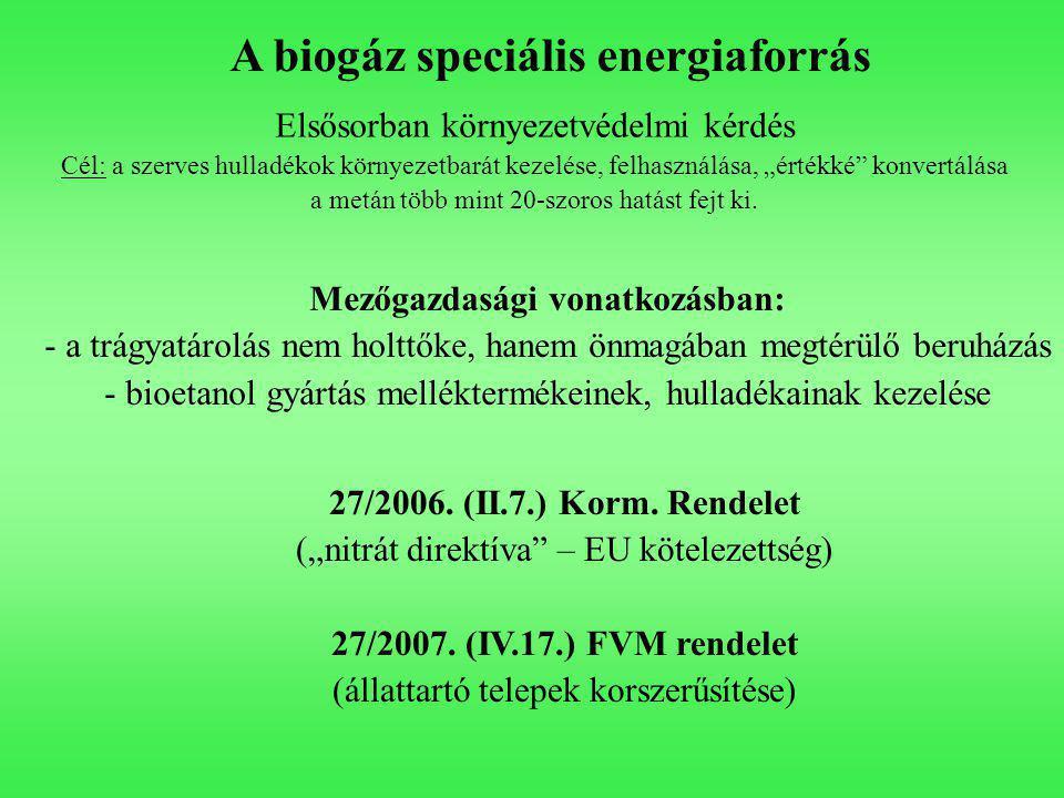 """A biogáz speciális energiaforrás Elsősorban környezetvédelmi kérdés Cél: a szerves hulladékok környezetbarát kezelése, felhasználása, """"értékké konvertálása a metán több mint 20-szoros hatást fejt ki."""