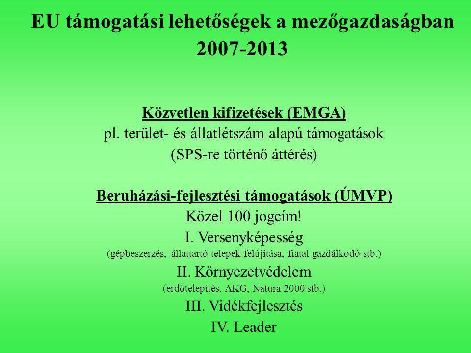 EU támogatási lehetőségek a mezőgazdaságban 2007-2013 Közvetlen kifizetések (EMGA) pl.