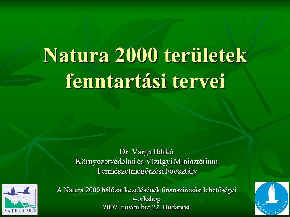 Natura 2000 területek fenntartási tervei Dr. Varga Ildikó Környezetvédelmi és Vízügyi Minisztérium Természetmegőrzési Főosztály A Natura 2000 hálózat