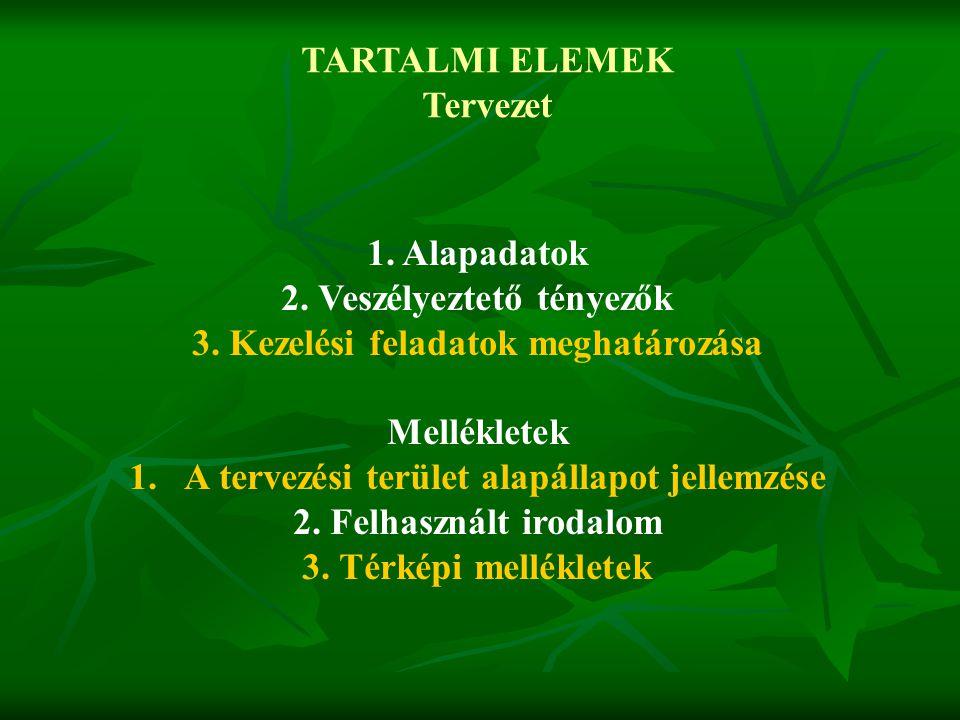 TARTALMI ELEMEK Tervezet 1. Alapadatok 2. Veszélyeztető tényezők 3. Kezelési feladatok meghatározása Mellékletek 1. A tervezési terület alapállapot je