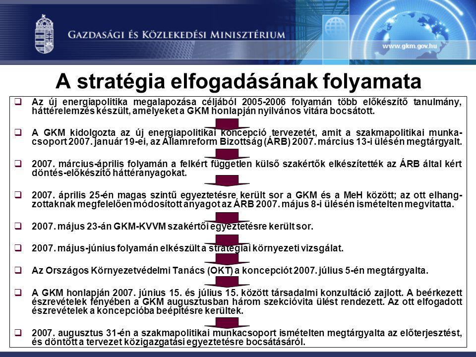 A stratégia elfogadásának folyamata  Az új energiapolitika megalapozása céljából 2005-2006 folyamán több előkészítő tanulmány, háttérelemzés készült,