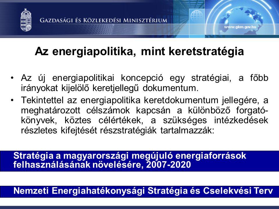Az energiapolitika, mint keretstratégia Az új energiapolitikai koncepció egy stratégiai, a főbb irányokat kijelölő keretjellegű dokumentum. Tekintette