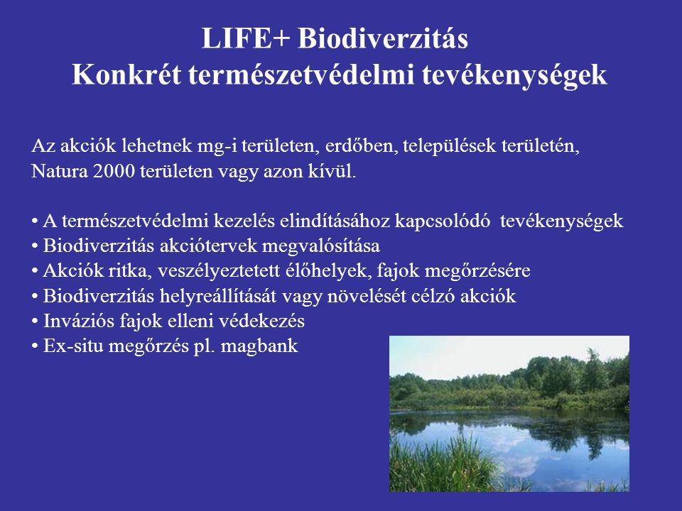 Az akciók lehetnek mg-i területen, erdőben, települések területén, Natura 2000 területen vagy azon kívül. A természetvédelmi kezelés elindításához kap