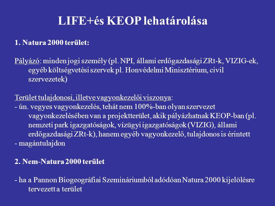 1. Natura 2000 terület: Pályázó: minden jogi személy (pl. NPI, állami erdőgazdasági ZRt-k, VIZIG-ek, egyéb költségvetési szervek pl. Honvédelmi Minisz