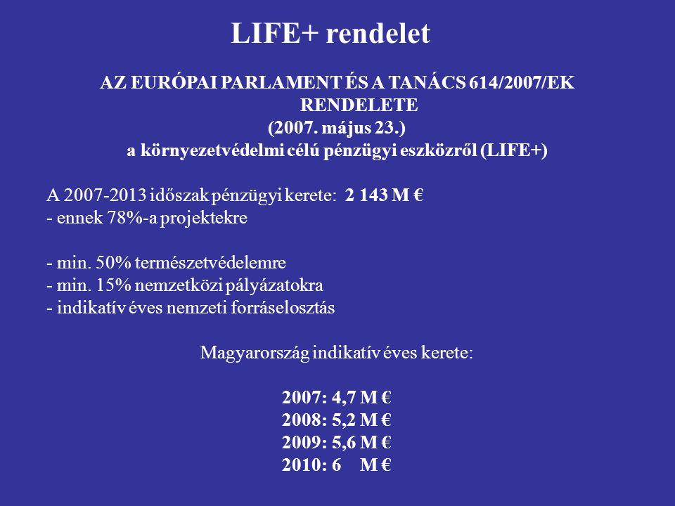 AZ EURÓPAI PARLAMENT ÉS A TANÁCS 614/2007/EK RENDELETE (2007. május 23.) a környezetvédelmi célú pénzügyi eszközről (LIFE+) A 2007-2013 időszak pénzüg