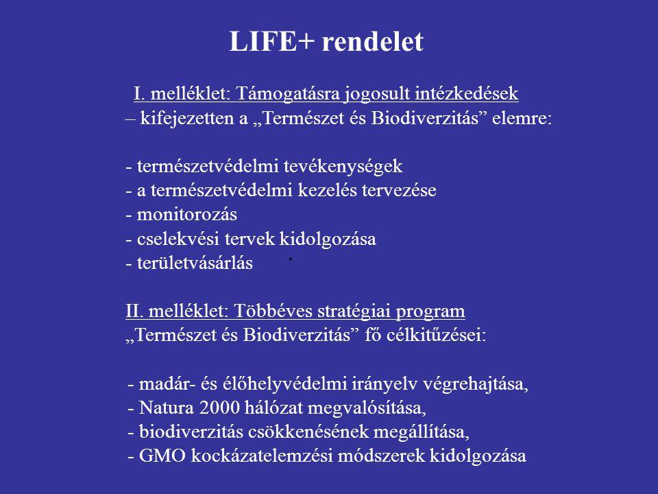 LIFE+ általános információk - pályázók köre: minden jogi személy - helyszín: csak EU tagállamok területe - a projekt költségvetése: nincs minimum összeg - a projekt időtartama: nincs meghatározva - 2007.