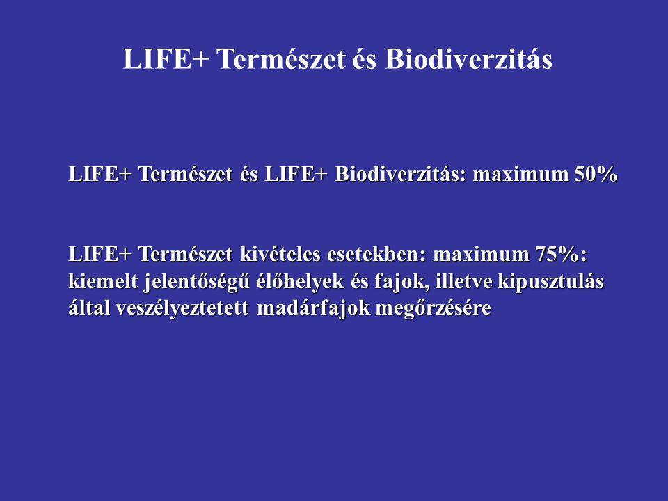 LIFE+ Természet és LIFE+ Biodiverzitás: maximum 50% LIFE+ Természet kivételes esetekben: maximum 75%: kiemelt jelentőségű élőhelyek és fajok, illetve