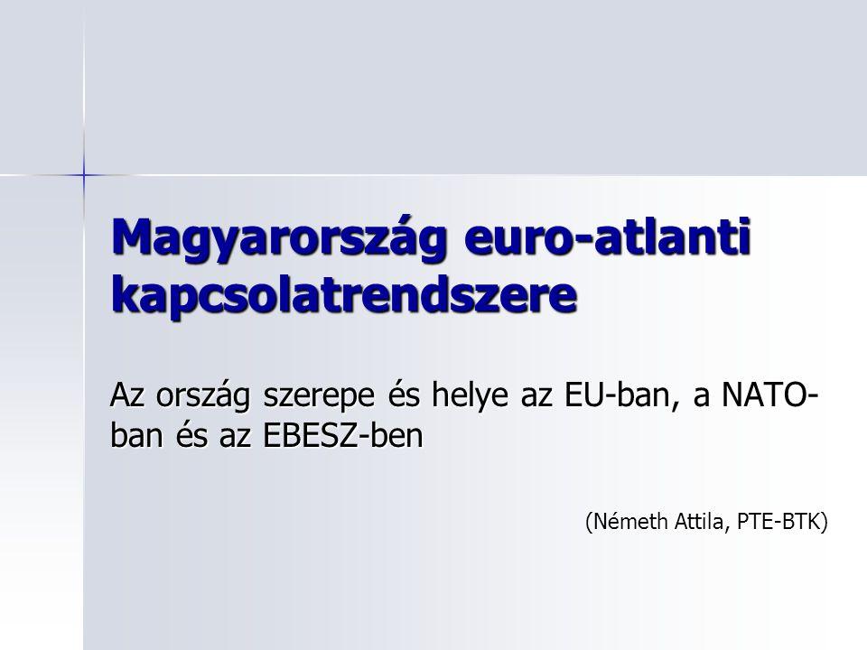 Magyarország euro-atlanti kapcsolatrendszere Az ország szerepe és helye az EU-ban, a NATO- ban és az EBESZ-ben (Németh Attila, PTE-BTK)