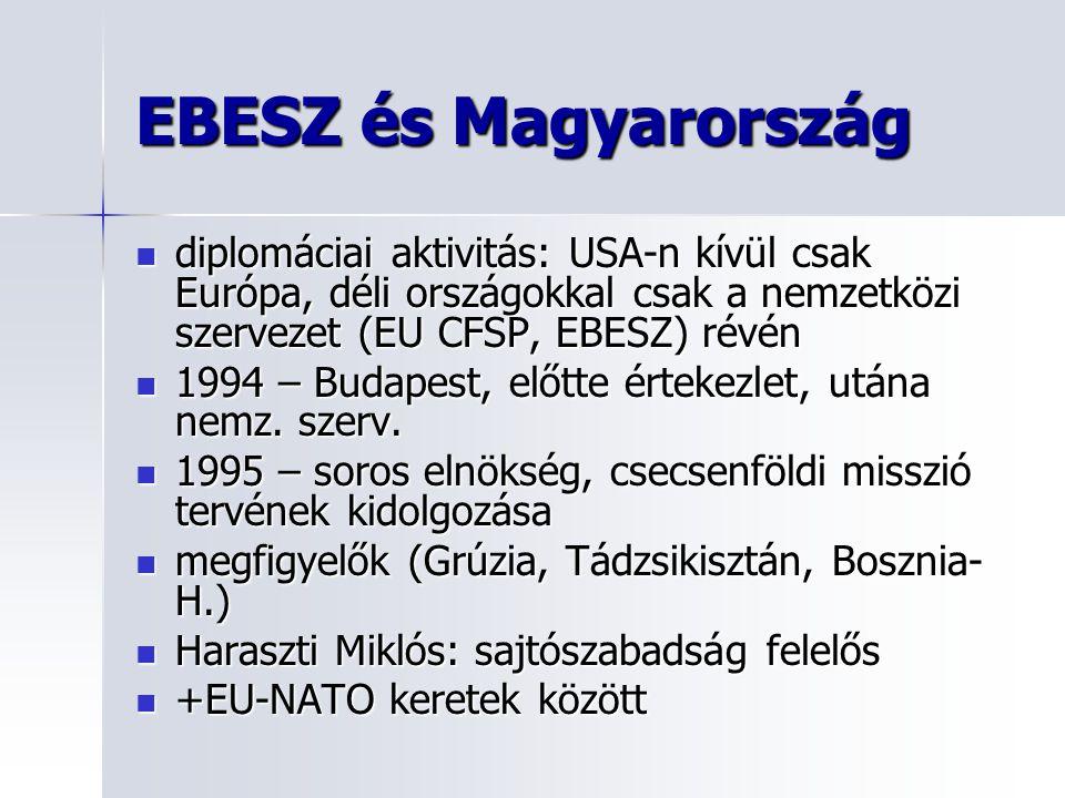 EBESZ és Magyarország diplomáciai aktivitás: USA-n kívül csak Európa, déli országokkal csak a nemzetközi szervezet (EU CFSP, EBESZ) révén diplomáciai aktivitás: USA-n kívül csak Európa, déli országokkal csak a nemzetközi szervezet (EU CFSP, EBESZ) révén 1994 – Budapest, előtte értekezlet, utána nemz.