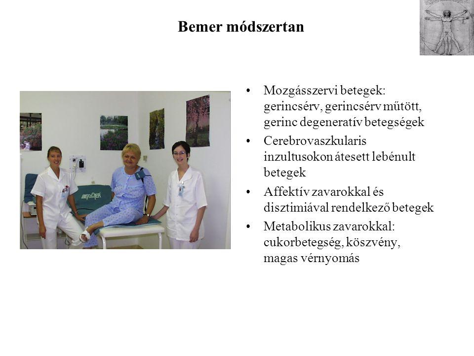 Mozgásszervi betegek: gerincsérv, gerincsérv műtött, gerinc degeneratív betegségek Cerebrovaszkularis inzultusokon átesett lebénult betegek Affektív z