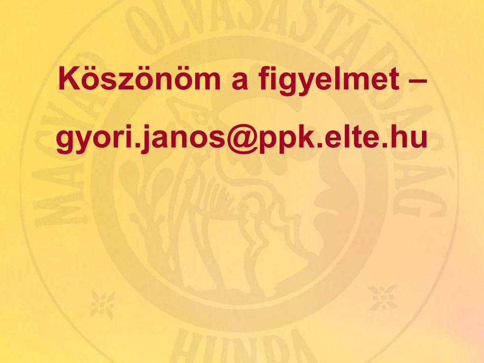 Kötelező, közös és kölcsönös olvasmány - 2009. március 28. 12 Köszönöm a figyelmet – gyori.janos@ppk.elte.hu