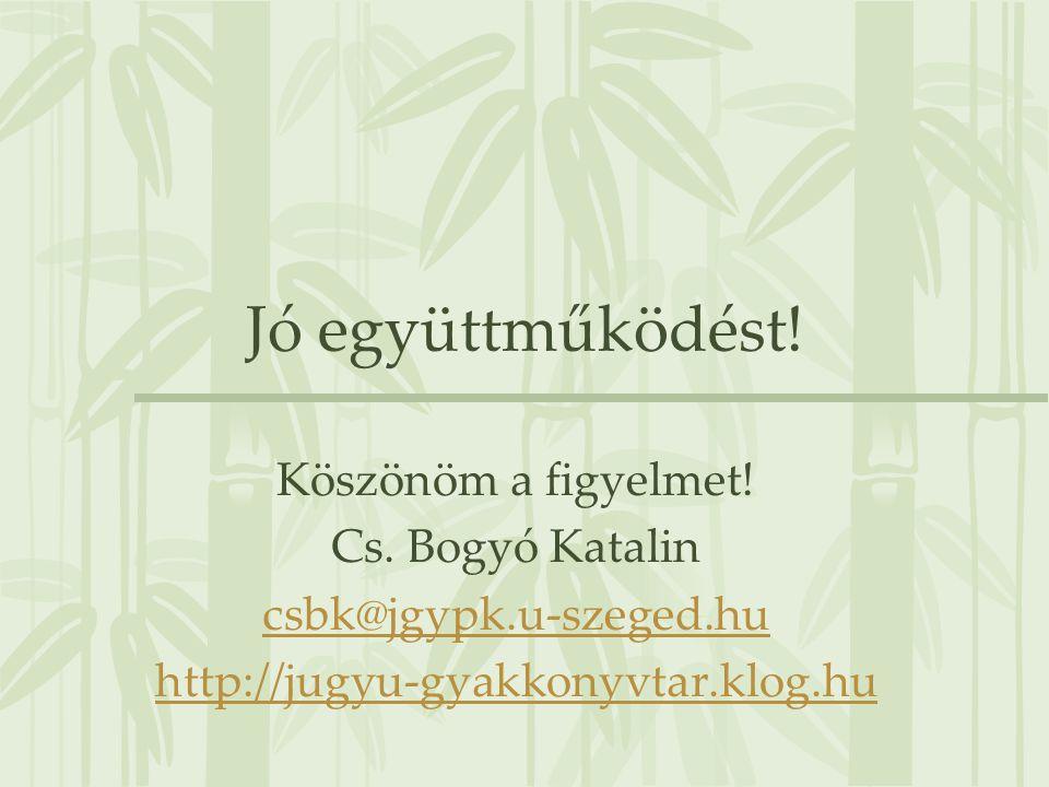 Jó együttműködést! Köszönöm a figyelmet! Cs. Bogyó Katalin csbk@jgypk.u-szeged.hu http://jugyu-gyakkonyvtar.klog.hu