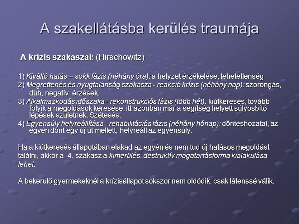 A krízis szakaszai: (Hirschowitz) A krízis szakaszai: (Hirschowitz) 1) Kiváltó hatás – sokk fázis (néhány óra): a helyzet érzékelése, tehetetlenség 2)