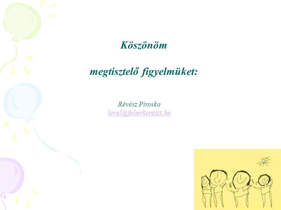 Köszönöm megtisztelő figyelmüket: Révész Piroska level@feherkereszt.hu