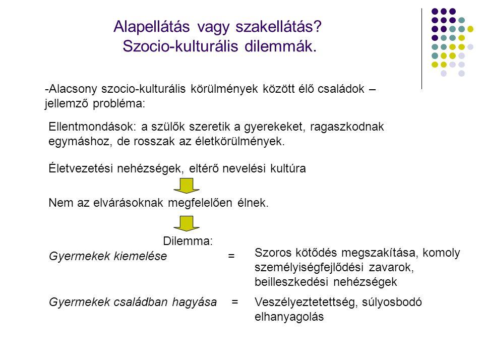Alapellátás vagy szakellátás? Szocio-kulturális dilemmák. -Alacsony szocio-kulturális körülmények között élő családok – jellemző probléma: Ellentmondá