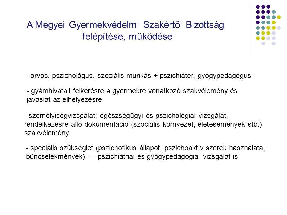 A Megyei Gyermekvédelmi Szakértői Bizottság felépítése, működése - orvos, pszichológus, szociális munkás + pszichiáter, gyógypedagógus - gyámhivatali