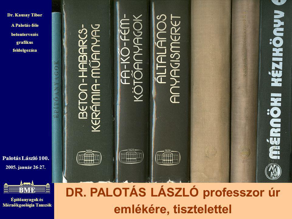 Építőanyagok és Mérnökgeológia Tanszék 21 Palotás László 100. 2005. január 26-27. DR. PALOTÁS LÁSZLÓ professzor úr emlékére, tisztelettel Dr. Kausay T
