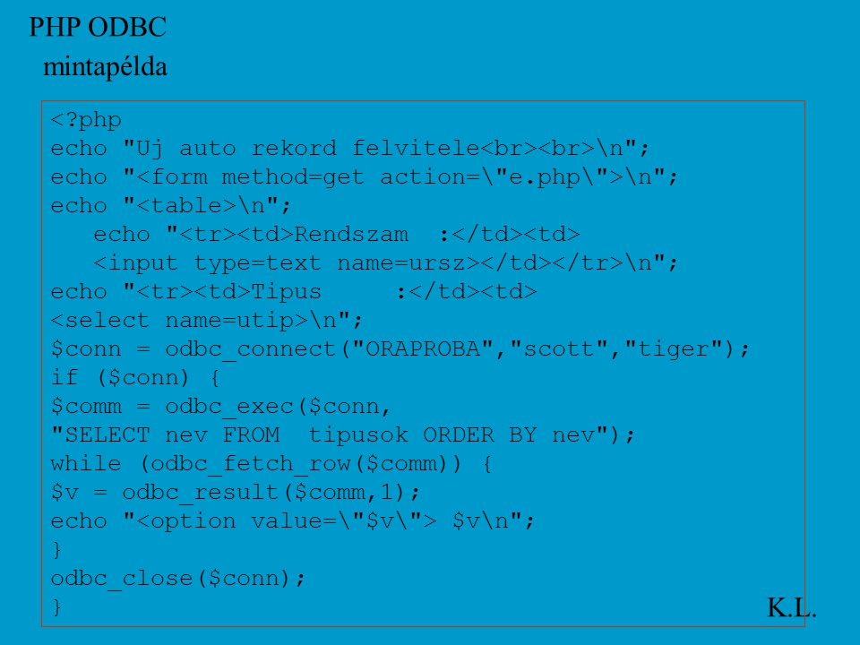 PHP ODBC K.L.