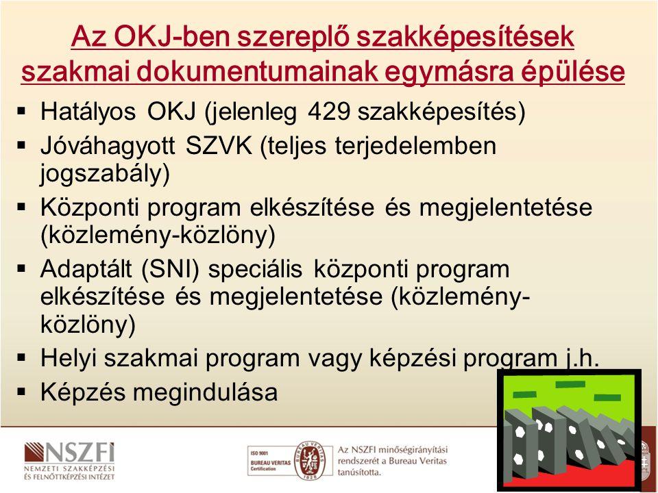 Az OKJ-ben szereplő szakképesítések szakmai dokumentumainak egymásra épülése  Hatályos OKJ (jelenleg 429 szakképesítés)  Jóváhagyott SZVK (teljes te