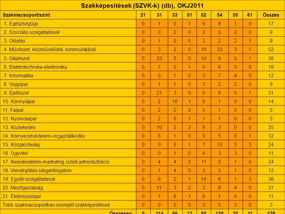 Szakképesítések (SZVK-k) (db), OKJ2011 Szakmacsoport/szint2131335152545561Összes 1. Egészségügy0101681017 2. Szociális szolgáltatások002023209 3. Okta