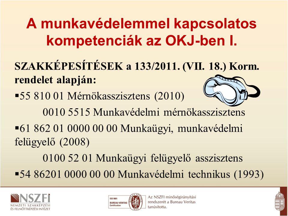 A munkavédelemmel kapcsolatos kompetenciák az OKJ-ben I. SZAKKÉPESÍTÉSEK a 133/2011. (VII. 18.) Korm. rendelet alapján:  55 810 01 Mérnökasszisztens