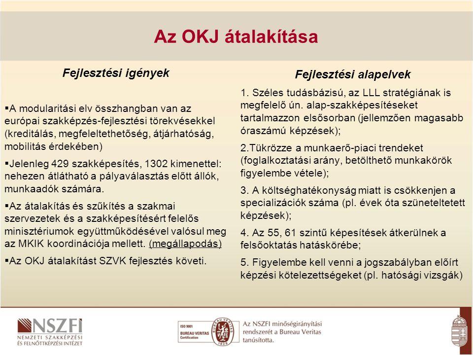 Az OKJ átalakítása Fejlesztési igények  A modularitási elv összhangban van az európai szakképzés-fejlesztési törekvésekkel (kreditálás, megfeleltethe